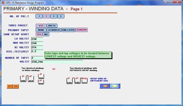 Winding Data Transformer Design Software